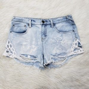 Free People Sz 29 Distressed Acid Wash Jean Shorts